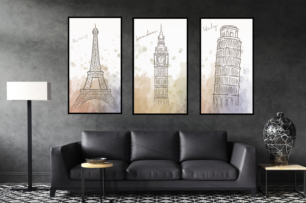 Set of 3 City Canvas Prints for Bedroom Wall Decor, Living Room Wall Art, Canvas Art Decoration