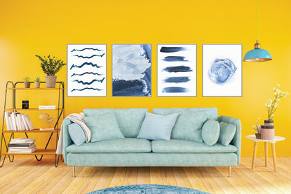 Abstract Watercolor Prints, Set of 4 Blue Wall art Minimalist art,  Brushstrokes Blue White Home Decor
