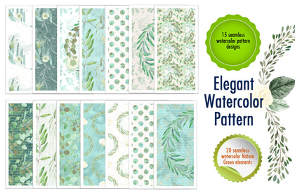 15 seamless watercolor pattern designs & 20 seamless watercolor Nature Green elements.