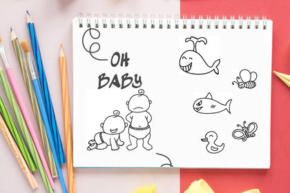 OH Baby, Printable Baby Shower Coloring Booklet, Coloring Pages & Activity Book, Baby Shower Favor