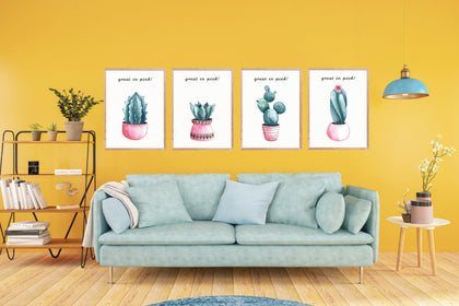 Cactus Print Set of 4, Cactus Plant Wall Art, Farmhouse Decor, Home Printable, Apartment Decor, Wall Decor.