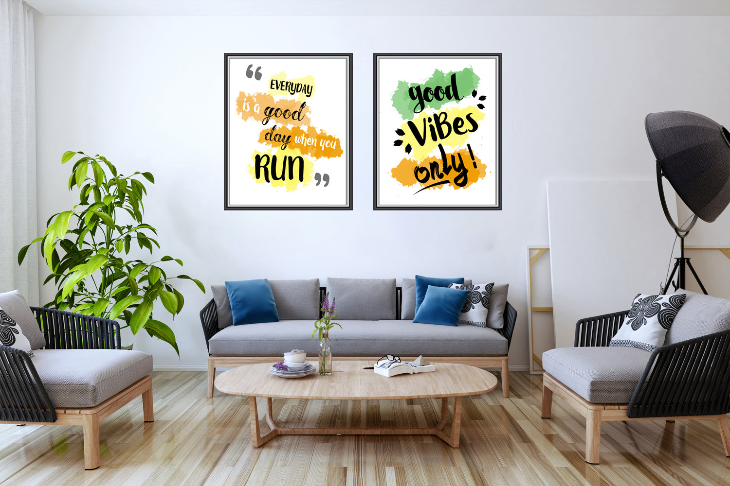 Set of Two Beautiful Water Color Canvas Paintings , Motivational Canvas Designs, Painting Canvas Designs,