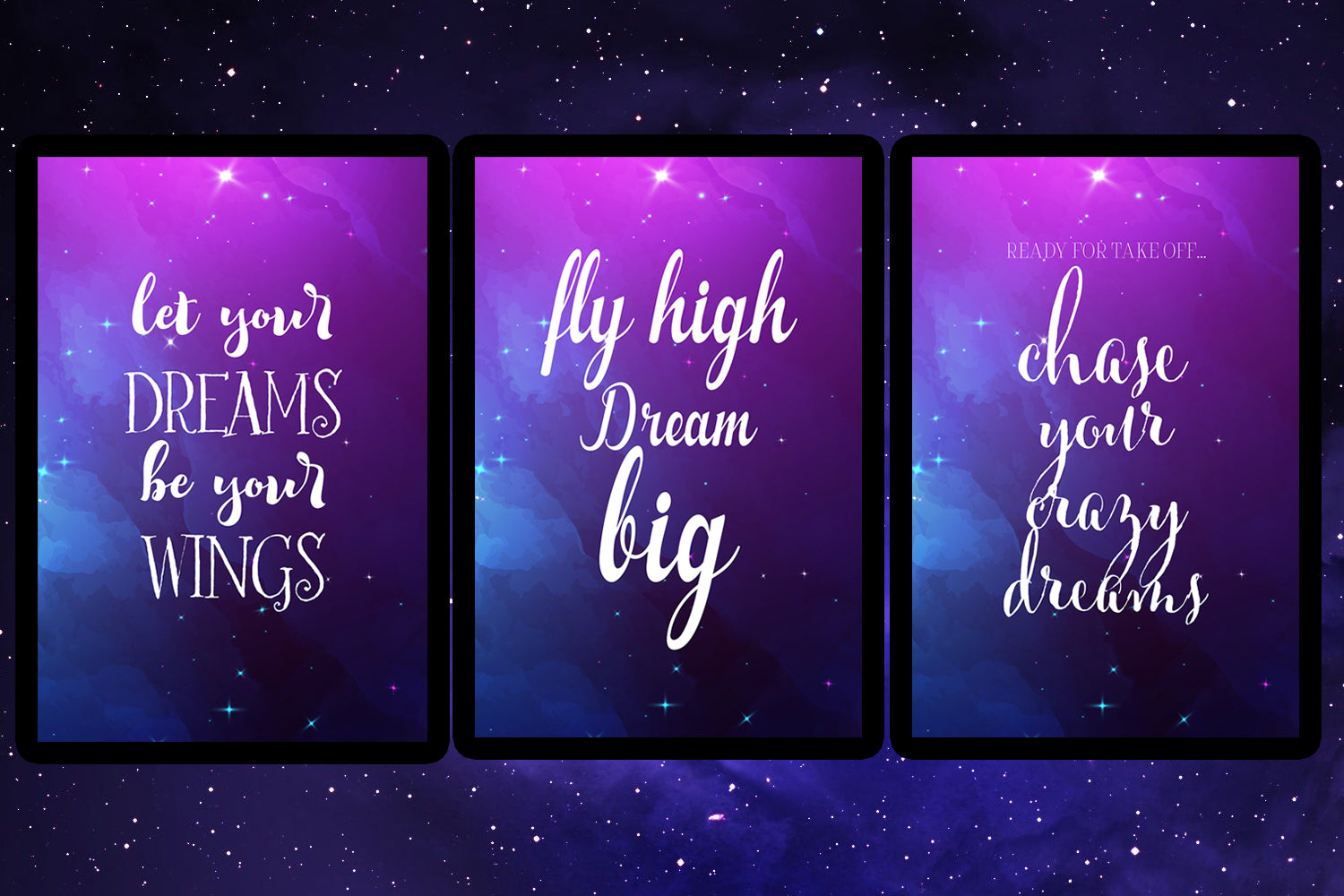Set of 6 Inspirational Galaxy Quotes, 6 printables for playroom, classroom, homeschool