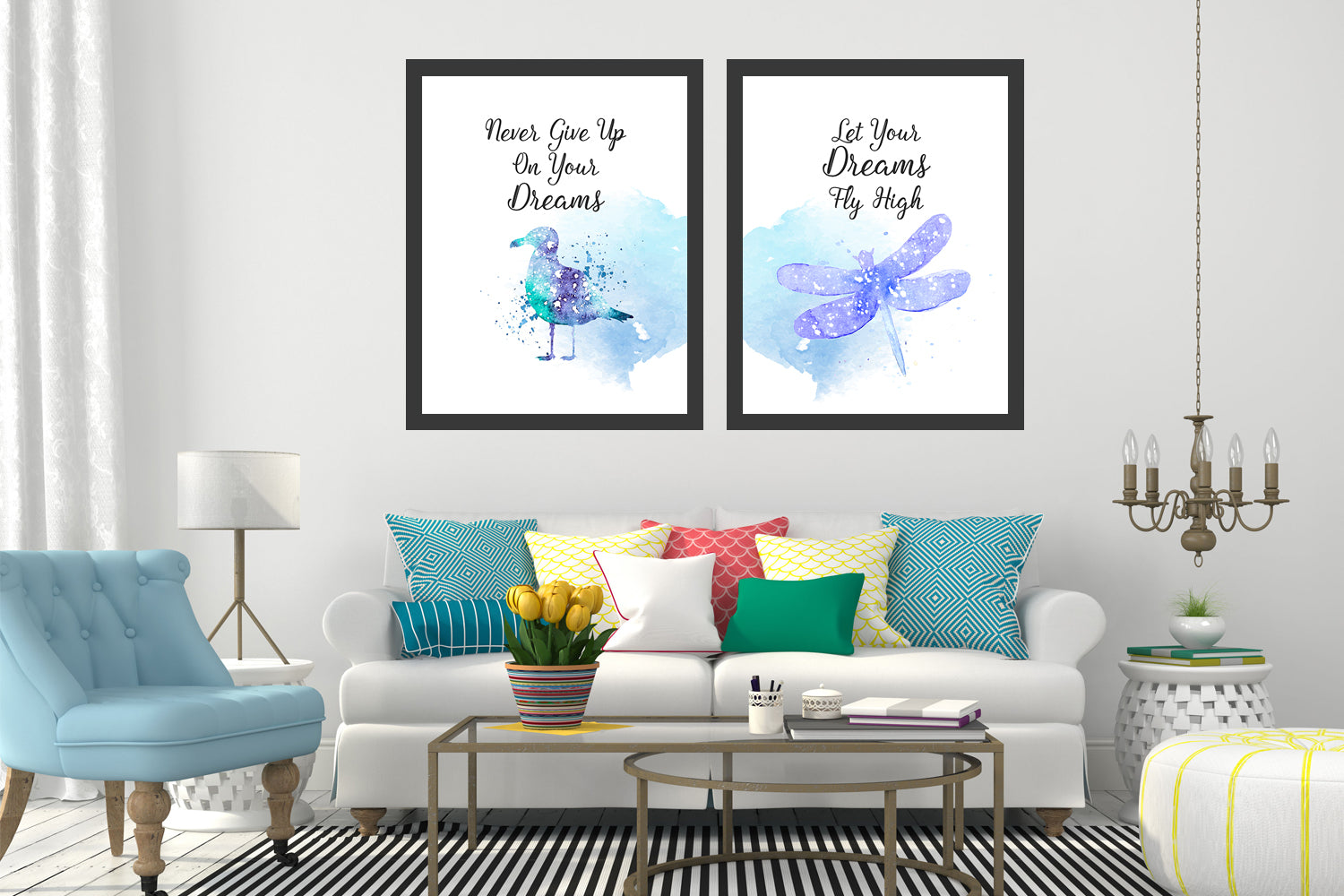 Set of 2 Fly Dragon and Bird paintings, Canvas Designs, Painting Canvas Designs, Original and Prints