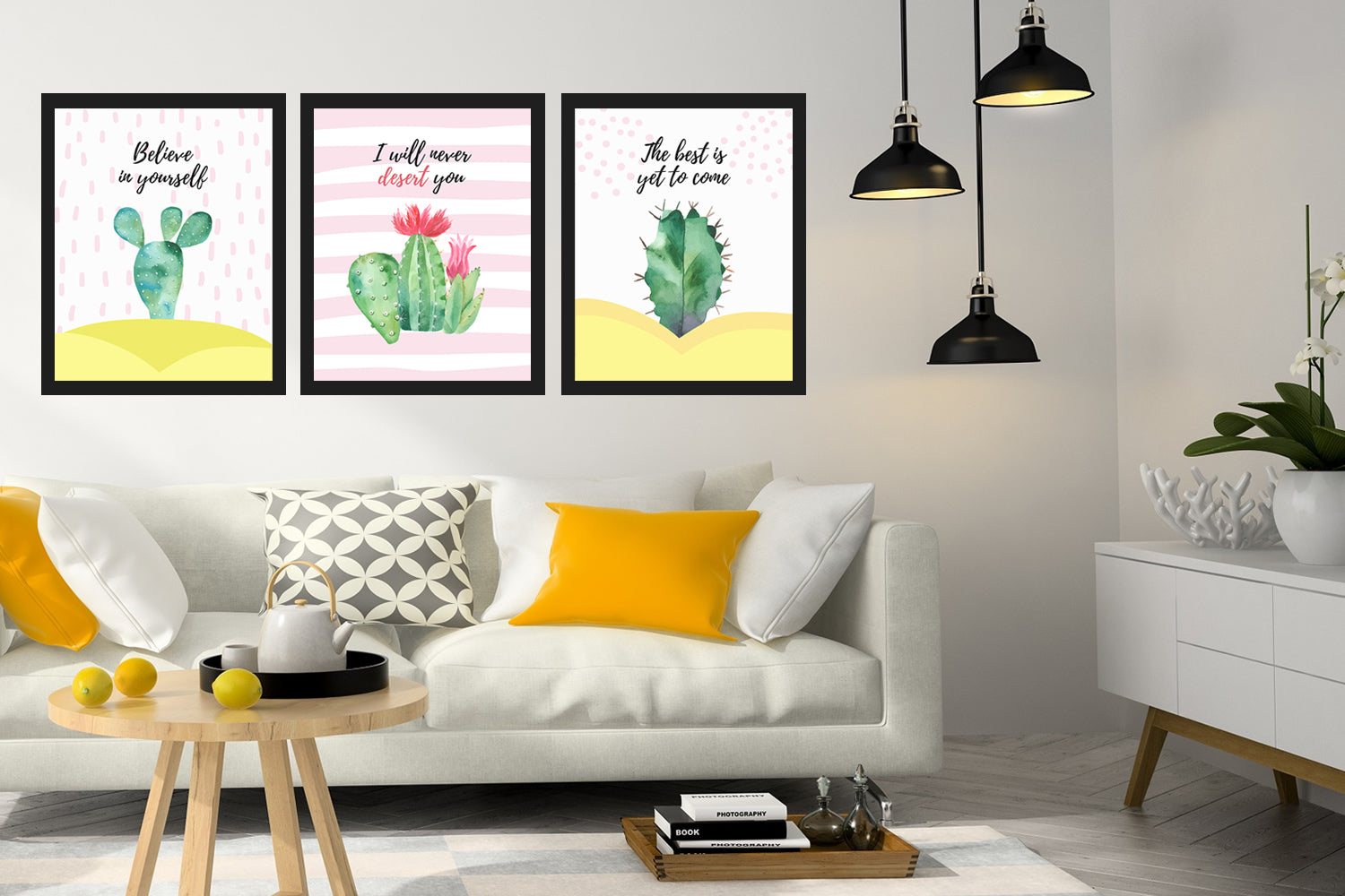 I Will Never Desert You, Cactus decor, Cactus printable set, Pastel cactus art, Digital art prints,