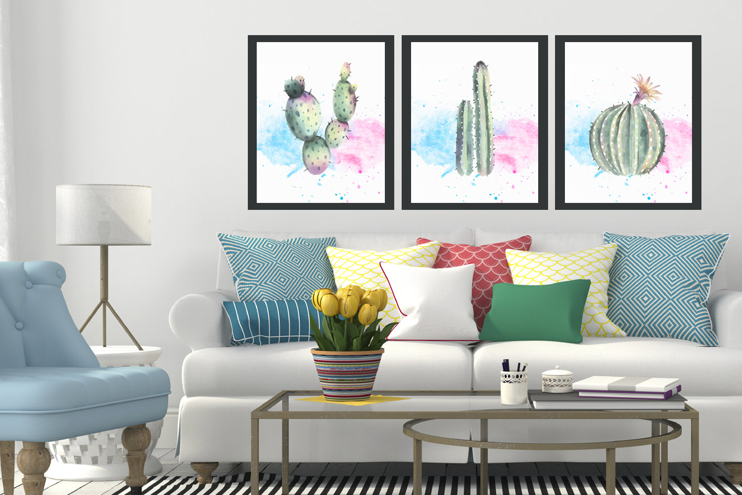 3 styles of Cactus canvas designs, Cactus decor, Cactus printable set, Pastel cactus art, Digital art prints,