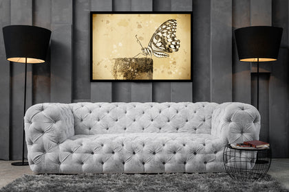 Vintage Sketch Butterfly Canvas, Butterfly Wall Art, Sketch Canvas, Butterfly Sketch Art