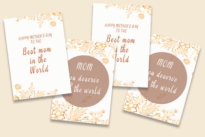 Set of 2 Flower Greeting Cards, Mothers Day Cards, Card for Mum, Printable, INSTANT DOWNLOAD