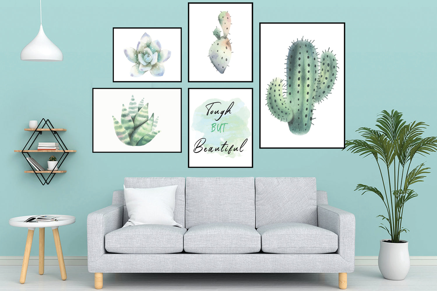 Cactus Print Set of 5, Cactus Plant Wall Art, Farmhouse Décor, Home Printable, Apartment Décor, Wall Décor