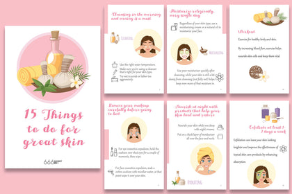 15 Things To Do For Great Skin, Things To Do For Stunning Skin, Skin Care Tips, Tips To Be More Beautiful, INSTANT DOWNLOAD