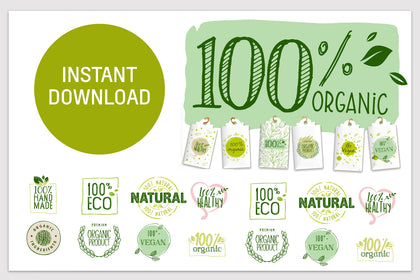 Set 21 Essential icon for Organic products with Tags and 6 Labels, Ready to Print. INSTANT DOWNLOAD