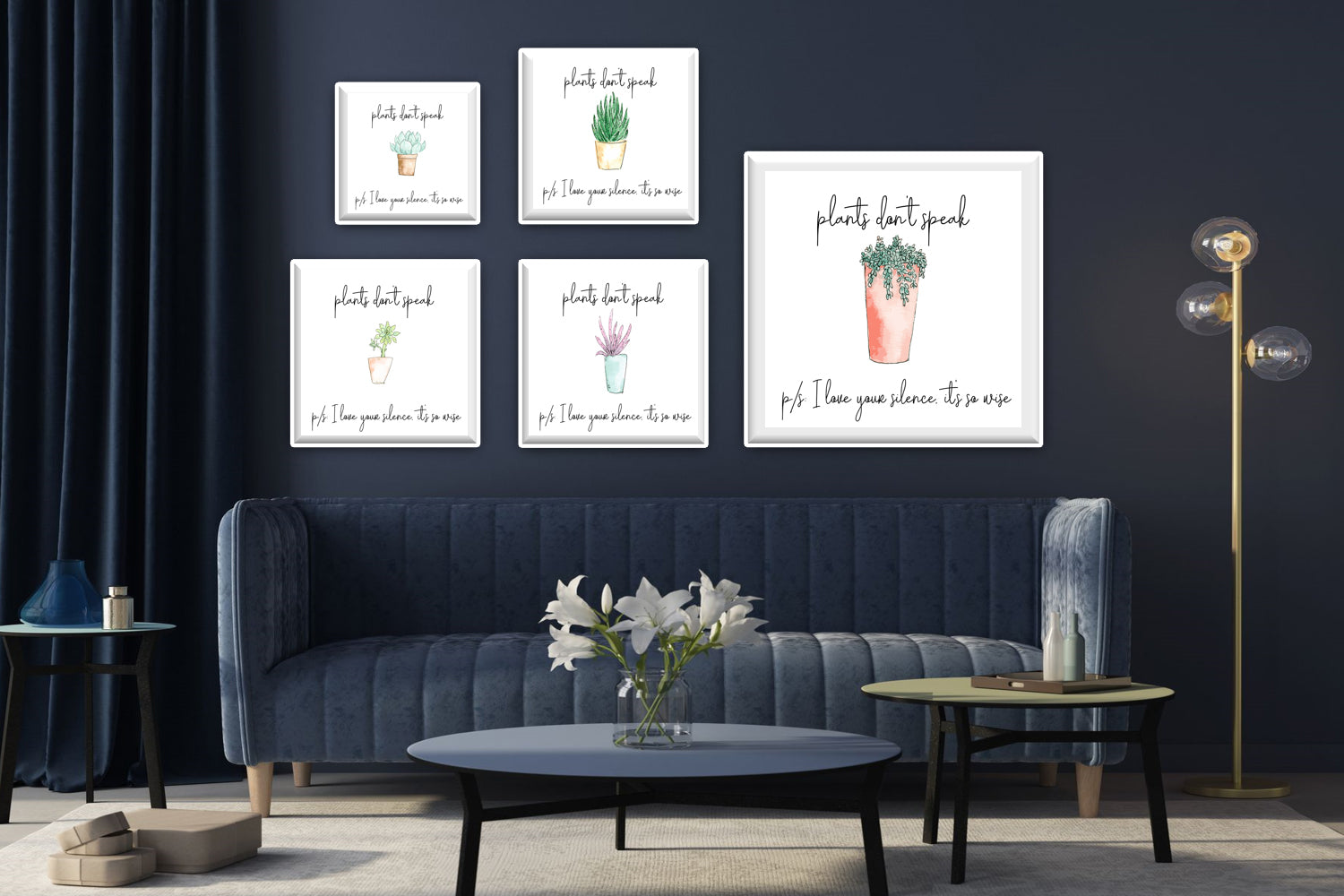 5 styles of Watercolor Cactus Illustration canvas designs, I love your silence