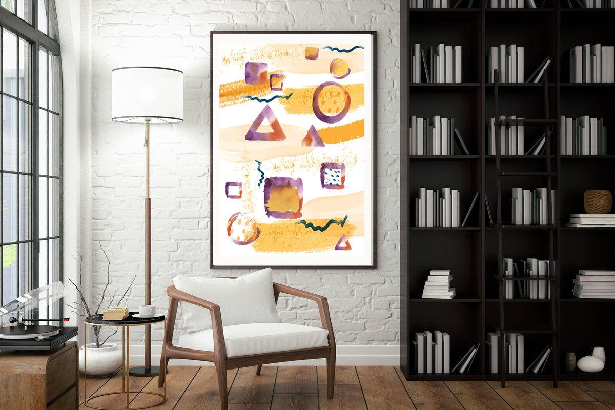 Watercolor Geometric Prints, Wall art Minimalist art, Home Decor