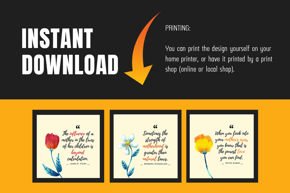 Floral Mother's Day Canvas Designs, Mother's Day Gift, Digital Art, Printable & Editable, INSTANT DOWNLOAD