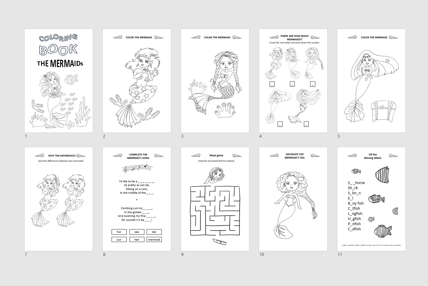 Little mermaid coloring activity book, Printable coloring pages, Little mermaid party favors