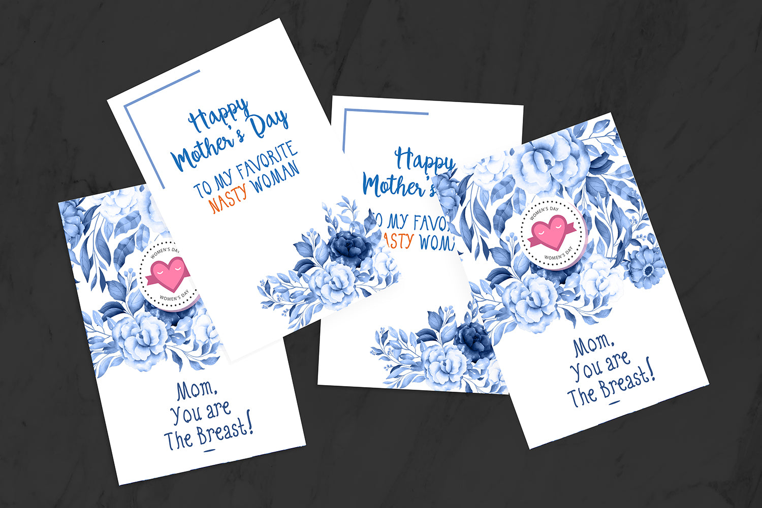 Set of 5 Floral Mothers Day Cards, Printable & Editable, INSTANT DOWNLOAD