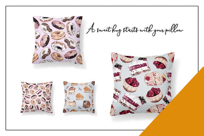 8 Pillows Pattern For Sweet People, Pillow Cases, Sofa Car Cushion Cover, Home Decor, Digital Art