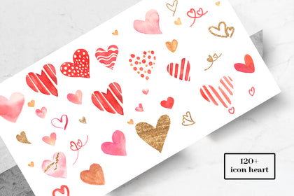 120+ Icons Powerpoint, Free Vector Icons, Heart Icons Set For Your Projects, Instant Download