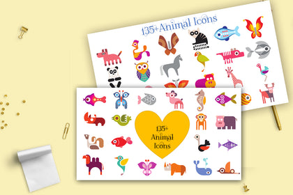 135+ Special Animal Icons Collection, Animal Cartoon, INSTANT DOWNLOAD