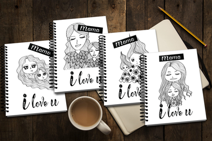 Mother & Daughter Notebook, Card for Special Days, Mamma I Love You, Women's Day Gift, Digital Art, Printable & Editable, INSTANT DOWNLOAD