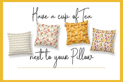 Set 4 Pillows for Tea Love, Pillow Cases, Sofa Car Cushion Cover, Home Decor, Digital Art