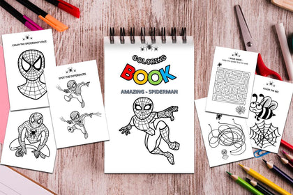 Amazing Spiderman Coloring Book, Kids Activity Coloring Book, Coloring Pages, Maze Game