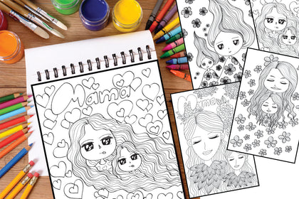 Mother & Daughter Coloring Pages for Special Days, You Are Simply The Best, Women's Day Gift, Digital Art
