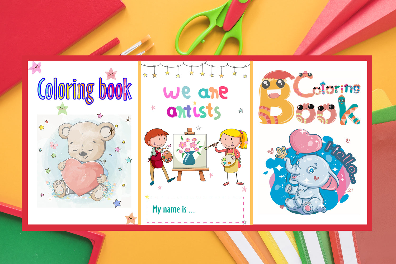 5 Kids Coloring book covers with organised layers for quick editing, Ready to print files