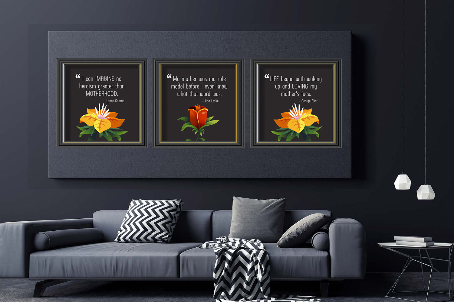 Set of 3 Floral Canvas Picture Designs, Mothers Day Gift, Digital Art, Printable & Editable, INSTANT DOWNLOAD