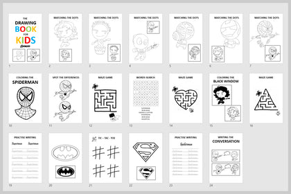 The Avenger Drawing Book For Kids, Coloring Pages, Write The Name, Words Search, Matching Game, Practise Writing, Maze Game.