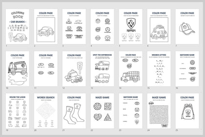 Car Brands Coloring Book For Kids, Color Pages, Missing Letters, Matching Game, Words Search, Maze Game