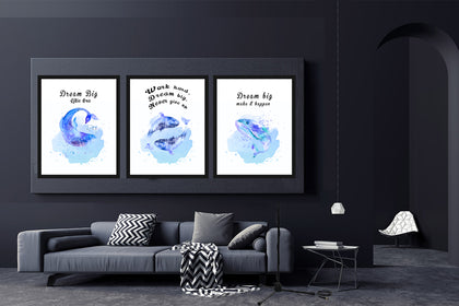Set of Three Blue Whale and Dolphin Canvas  Paintings , Canvas Designs, Painting Canvas Designs, Art Designs, Original and Prints.