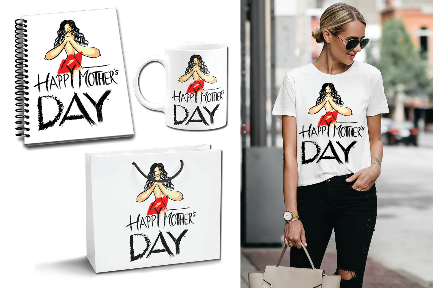 Happy Mother's Day Set, Funny Mother's Day Gift, T-shirt, Cup, Bag, Notebook, Best Gift For Mother In A Special Day
