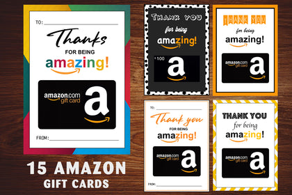 15 Amazon Gift Card Holders, Thank You Gift Card Holders, Gift Card Holder, Teacher's Gifts, Thank You Card