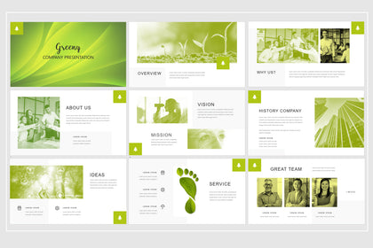 Presentation Template - Green Company, Using For A Variety Of Businessess: Startup Company, Creative Agency, Creative Studio, Corporate