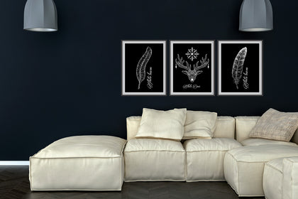 Set of Three Deer and Leave Canvas Paintings , Canvas Designs, Painting Canvas Designs, Art Designs