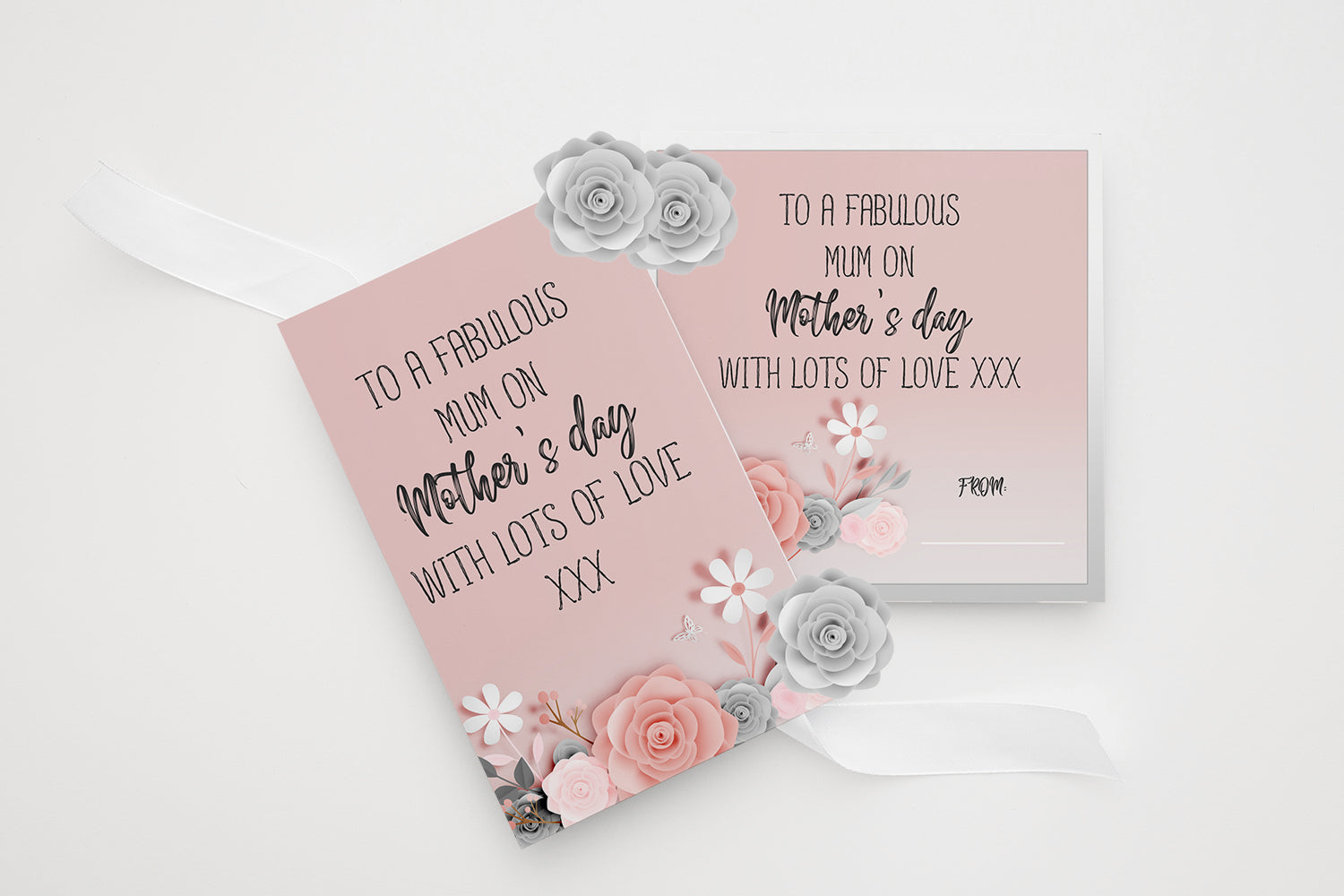 A Fabulous Mom On Mother's Day With Lots Of Love XXX, Elegant Rose Mother's Day Card, Greeting Card, Printable Art