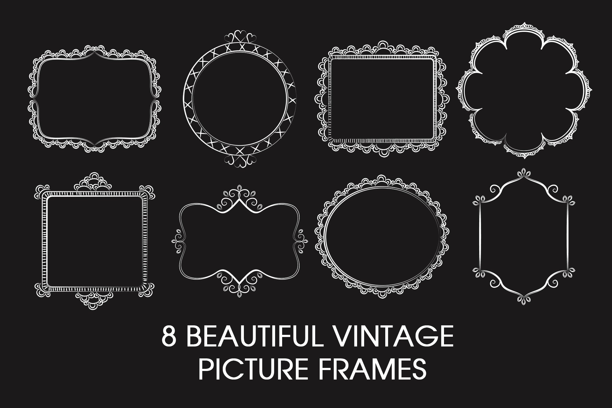 Free 8 Beautiful Vintage  Picture Frames (3 Styles)