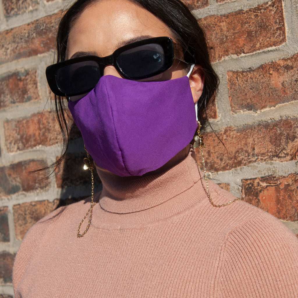 Purple Face Mask With Tiger Chain