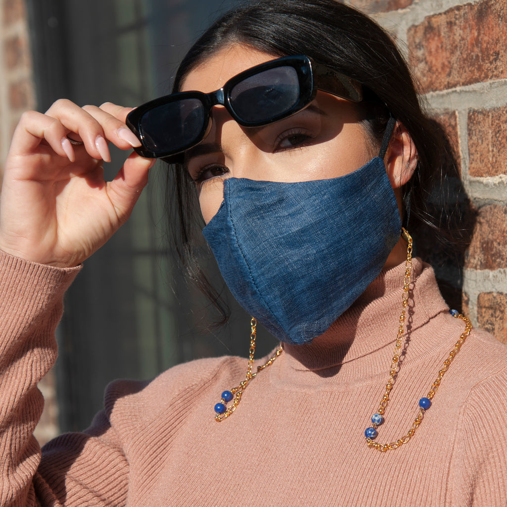 Royal Blue Face Mask Chain