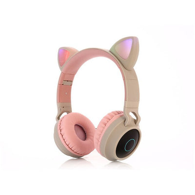 Cute Cat Bluetooth 5.0 Headset Wireless Music Stereo Bass Headphones LED