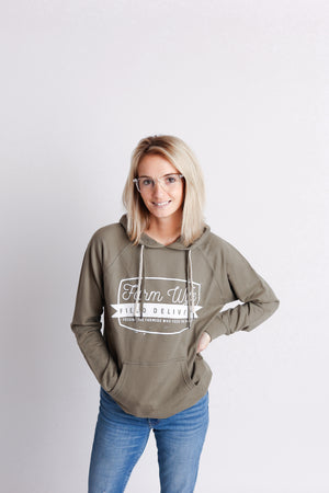 Olive 'Farm Wife Field Delivery' Hoodie