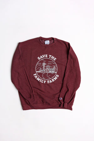 Save the Family Farms Crewneck - Heather Maroon