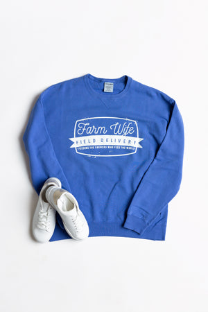 'Farm Wife Field Delivery' Crewneck - Blue