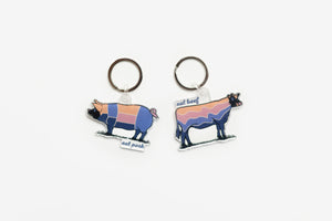 'Retro Eat Pork' Keychain