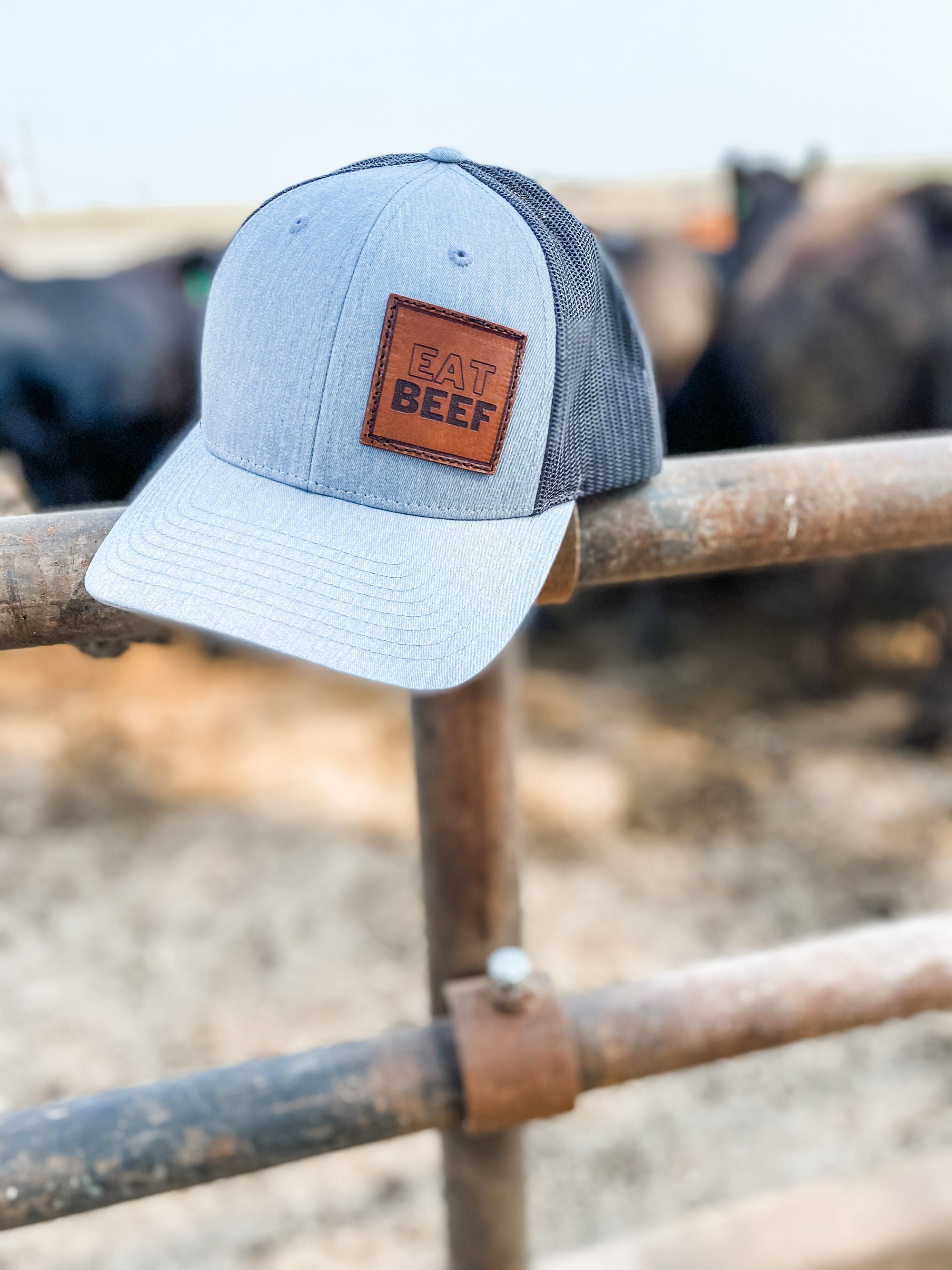 'Eat Beef' Leather Patch Trucker Cap