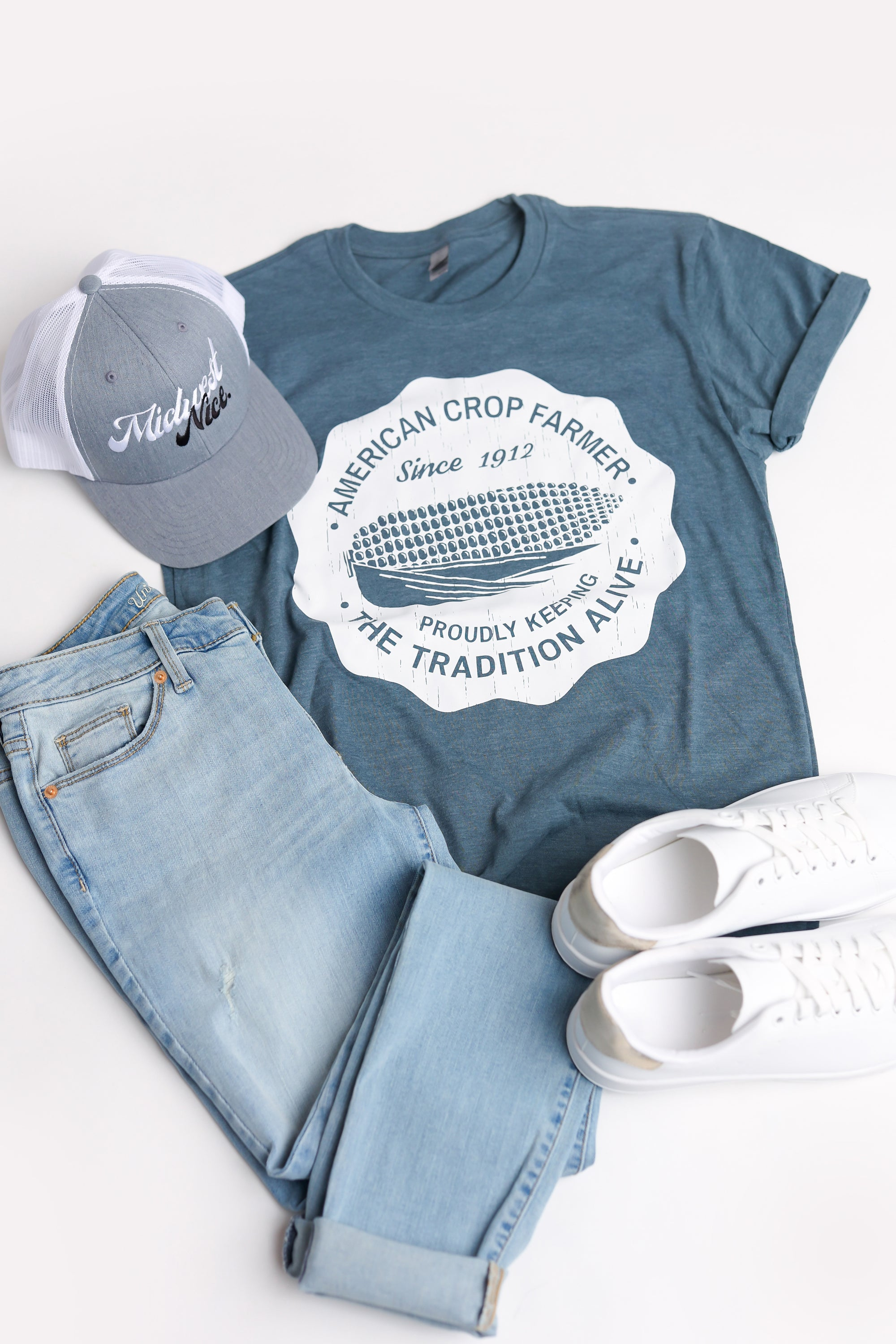 American Crop Farmer Tee - Blue