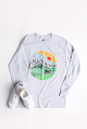 'Good Vibes & Tractor Rides' Long Sleeve Tee