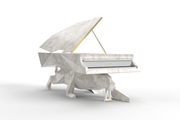BUILD SLOT AVAILABLE - Italian White Marble Panther Designer Piano