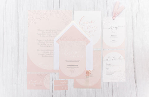 """Blush Pink Wedding Invitations and Stationery Suite from blog post """"Blush Pink Wedding Inspiration"""""""